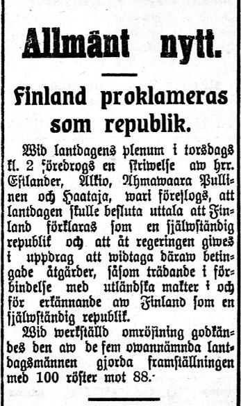 Det var inga braskande rubriker i Syd-Österbotten efter att Finlands lantdag förklarat landet självständigt. Artikeln från 8 december 1917.