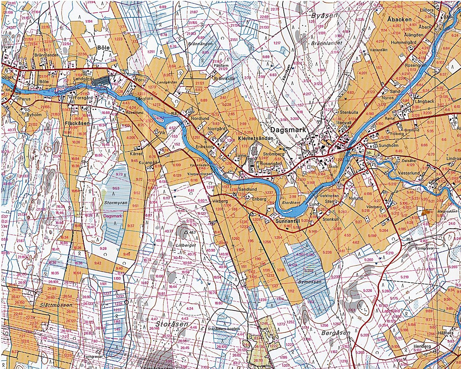 Grundkarta över Dagsmark från år 2002.