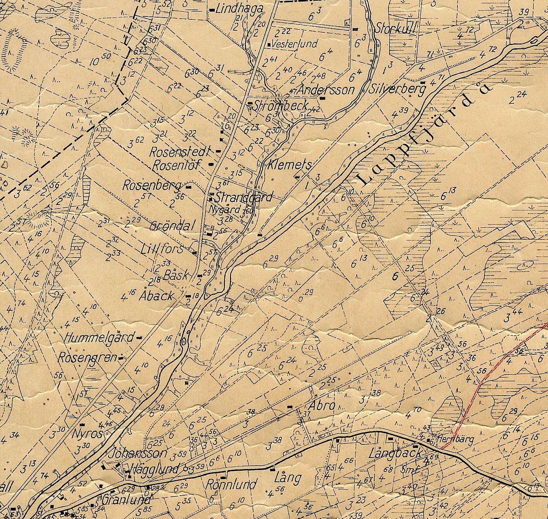 Detalj av sockenkartan, Åbackan och Palon.