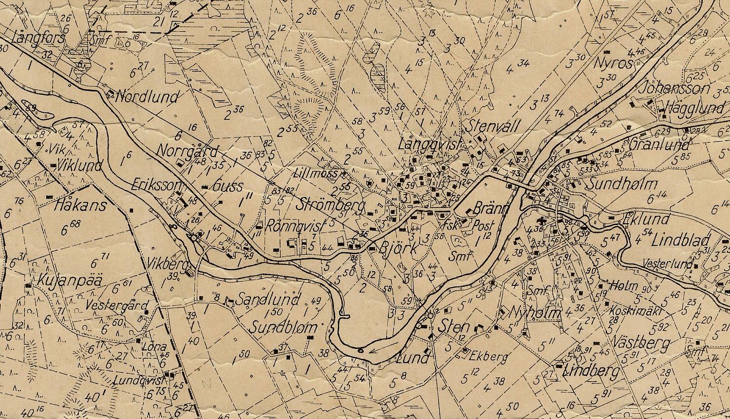 Detalj av sockenkarta, centrumområdet.