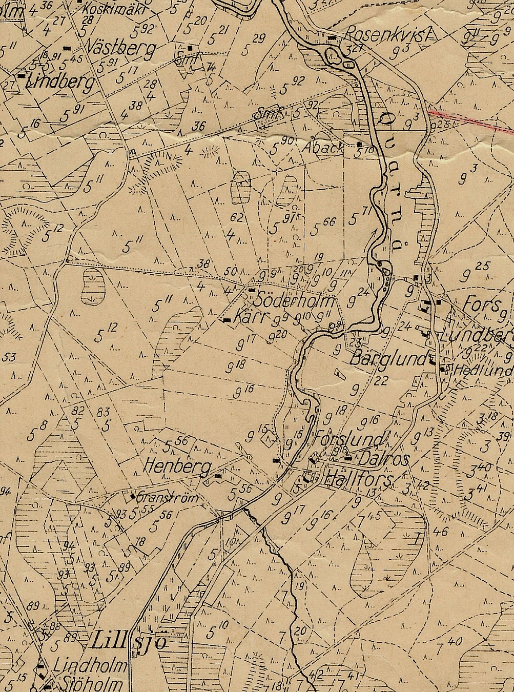 Detaljer av sockenkartan, Bergåsen, Kvarnå och Lillsjö.