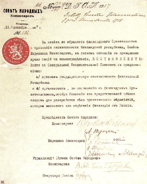 Den 4 januari 1918 erkände Ryssland att Finland är en självständig och en oavhängig stat.