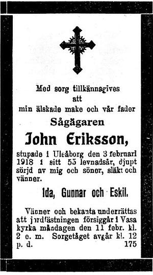 Eriksson John, Härkmeri