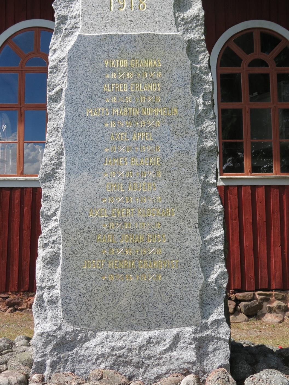 På minnesstenen finns namnen på 3 stupade skyddskårister från Kristinestads församling och på 6 stupade från Kristinestads landsförsamling i Tjöck.