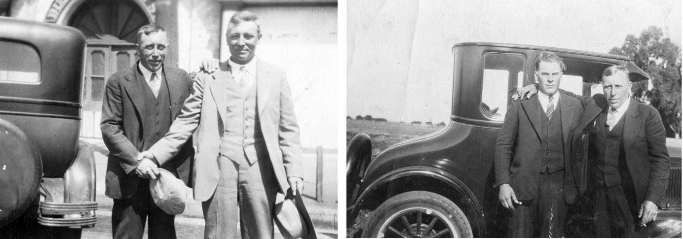 På bilderna ovan är Erland i Amerika, t.v. står han till vänster och på den andra står han till höger. De andra herrarna är tillsvidare okända.
