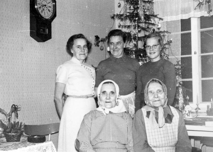 På fotot uppe t.v. Ingeborg Lindblad, Verna Långfors och Annel Lindblad, gift Nyholm. Nere Hulda Krook och bredvid henne Amanda Långfors. Amanda som var född Nyberg var gift med Emil Långfors och alltså svärmor åt Verna som står snett bakom.