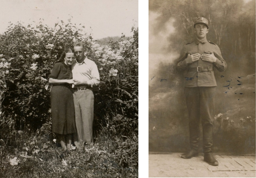 Gerda och Bertel Krook på fotot till vänster och på fotot till höger Bertel Krook i armén.