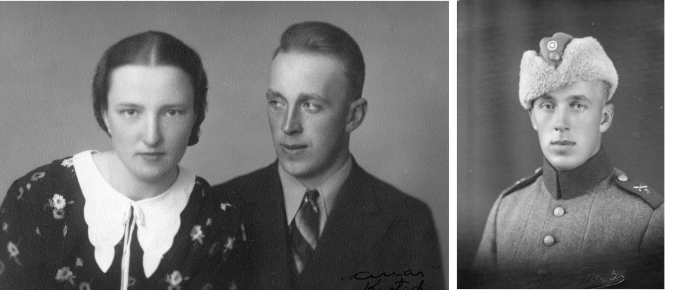 Förlovningsparet Gerda och Bertel Krook och på fotot till höger Bertel i militären.