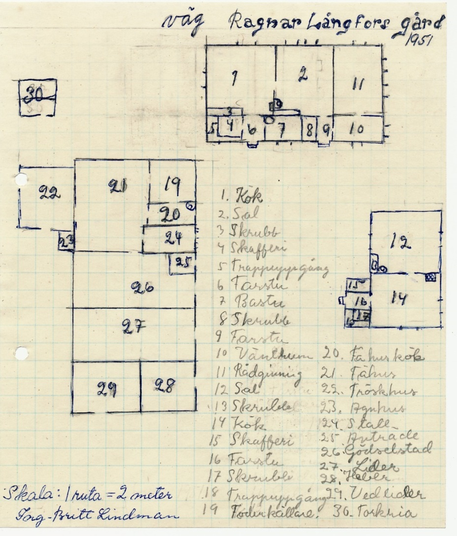 Den här ritningen av Krook-gården gjordes av Ing-Britt Lindman, senare Cygnel i skolan när hon 1951 bodde här med sina föräldrar. Ägare då var Ragnar Långfors och Verna, som var dotter till Erland Krook men de hade då rest iväg till Canada. Här kan noteras att bastun är inrymd i huvudbygganden, vilket inte var vanligt på den tiden. Notera också att rum nr 11 är mottagningsrum för rådgivningen.