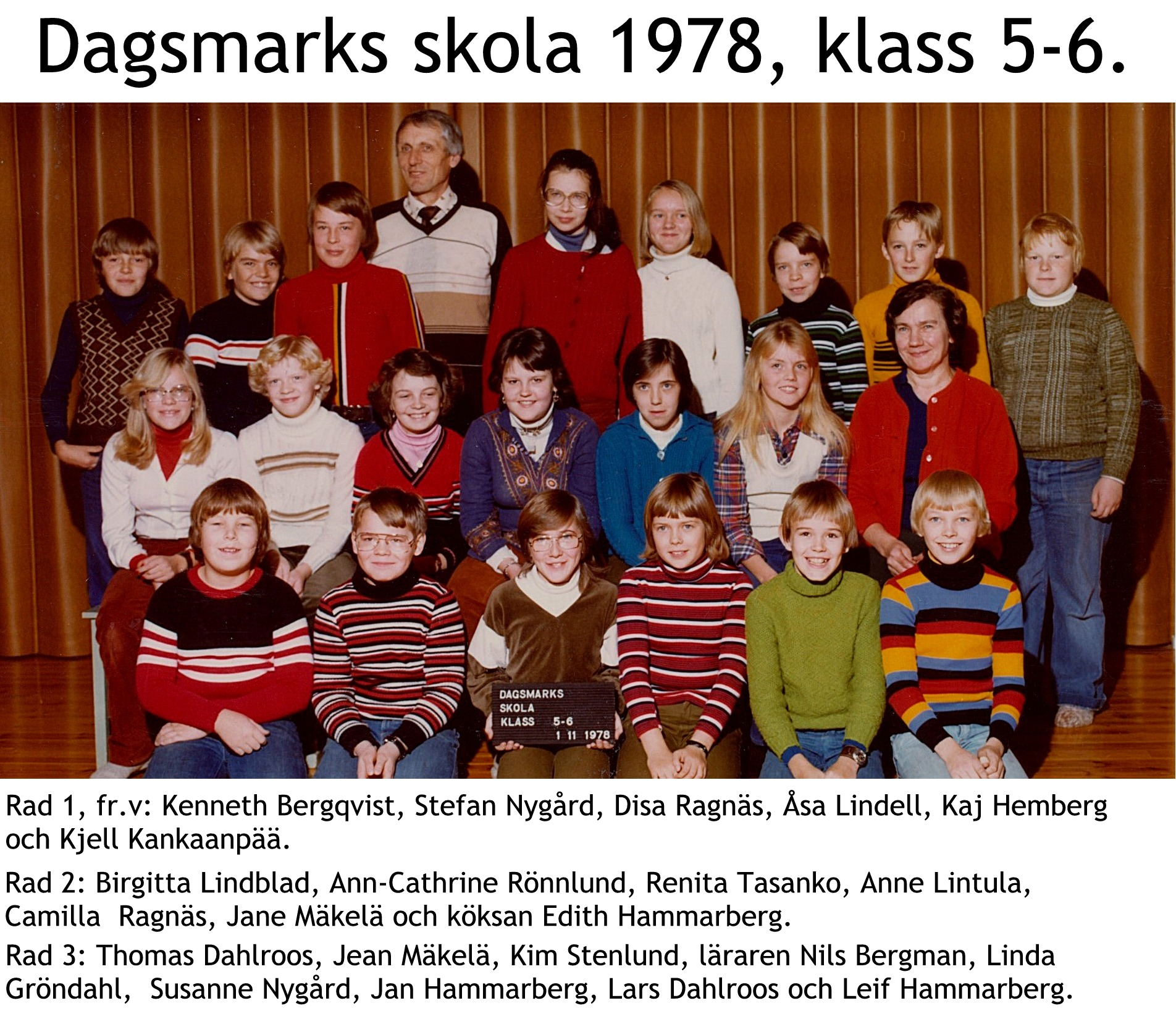 1978 Dagsmark skola klasserna 5-6