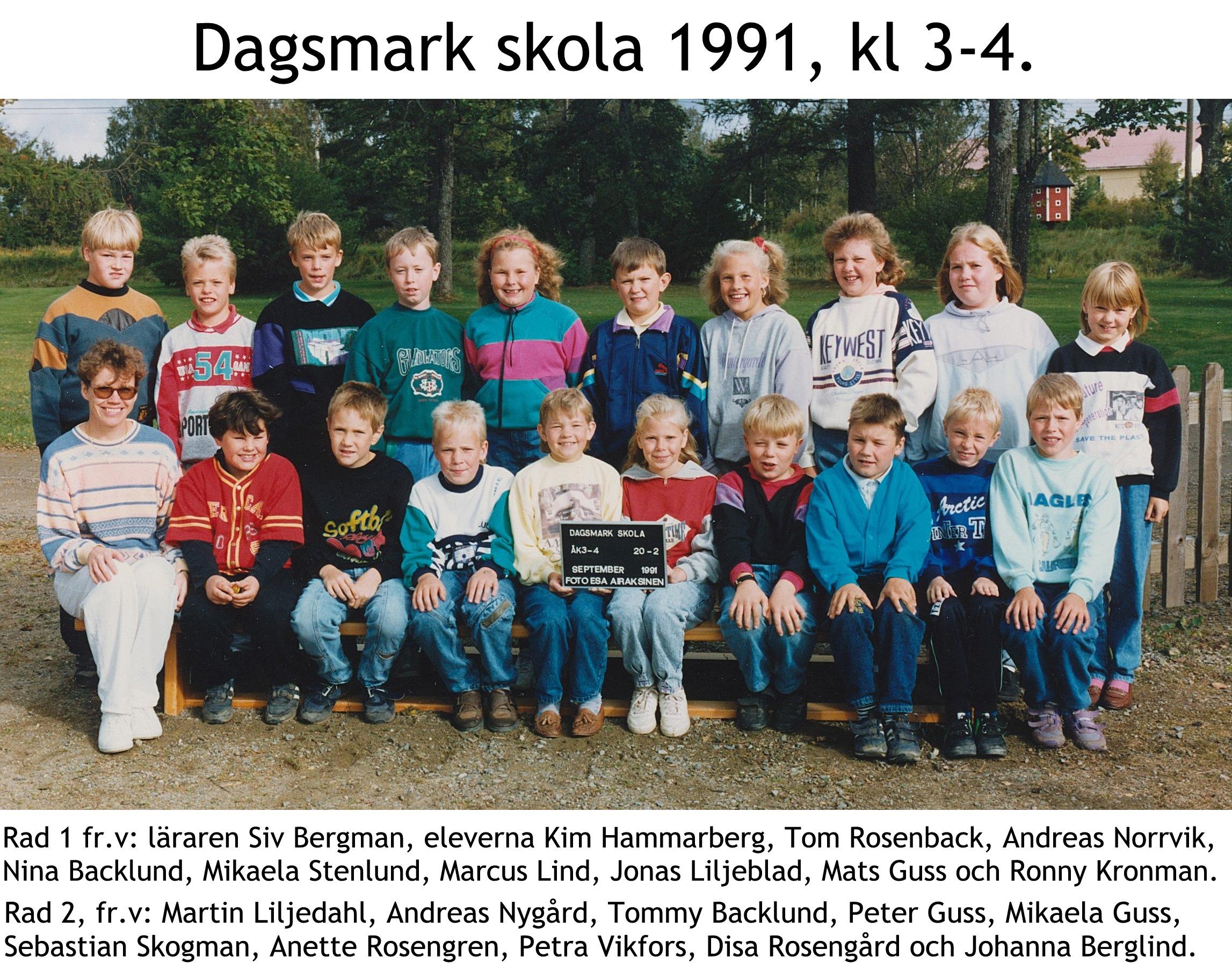 1991 Dagsmark skola kl 3-4