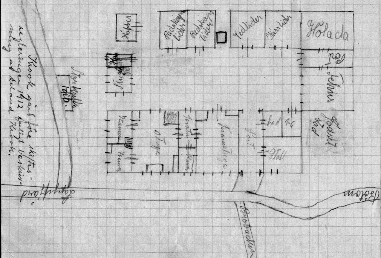Enligt Erland Krooks beskrivningar såg gården ut så här före storskiftet i början på 1900-talet. Ritningen gjord av Ingeborg Krook med lärare Linds bistånd.
