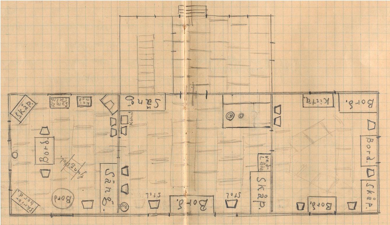 """Under denna ritning har Ingeborg Krook skrivit: """"Inredningen i mitt hem 1934. Ritat av läraren."""""""