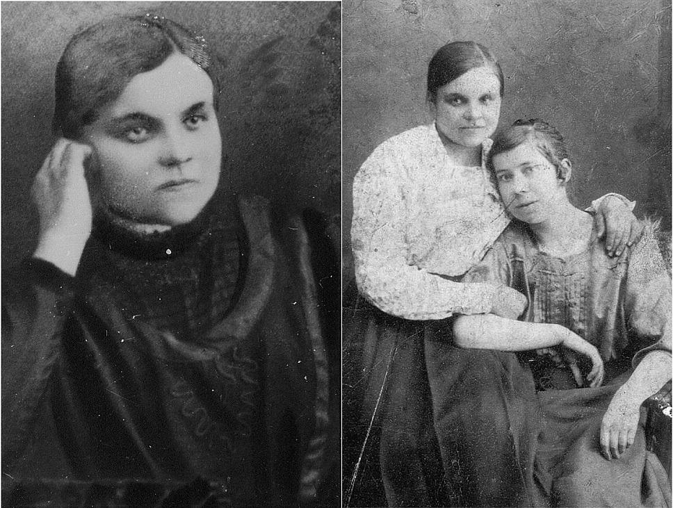 Här Elsa Granlund som gifte sig med Jansson från Tjöck. På den högra bilden så sitter Elsa t.v. tillsammans med okänd kvinna.