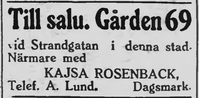 Annons 31.1.1928 i tidningen Syd-Österbotten, då Kväänå-Kajs säljer sin gård i stadin