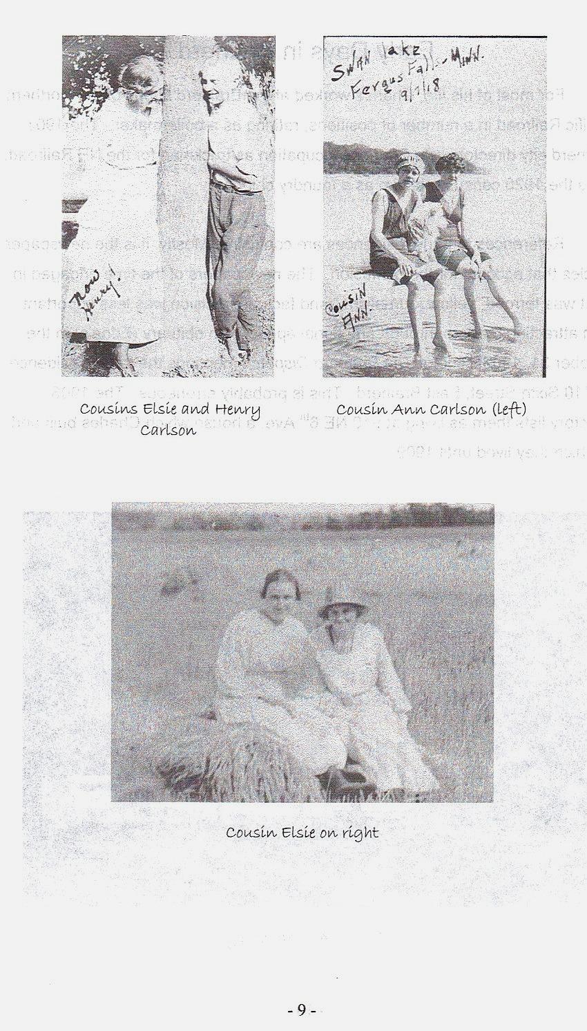 Sid 9, bilder på kusinen Elsie i Fergus Falls