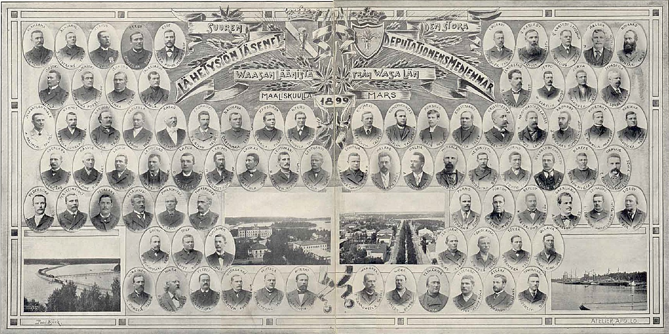 Från Vasa län skickades det 85 delegater, för att föra adressen åt kejsare Nikolaj i Sankt Petersburg 1899.