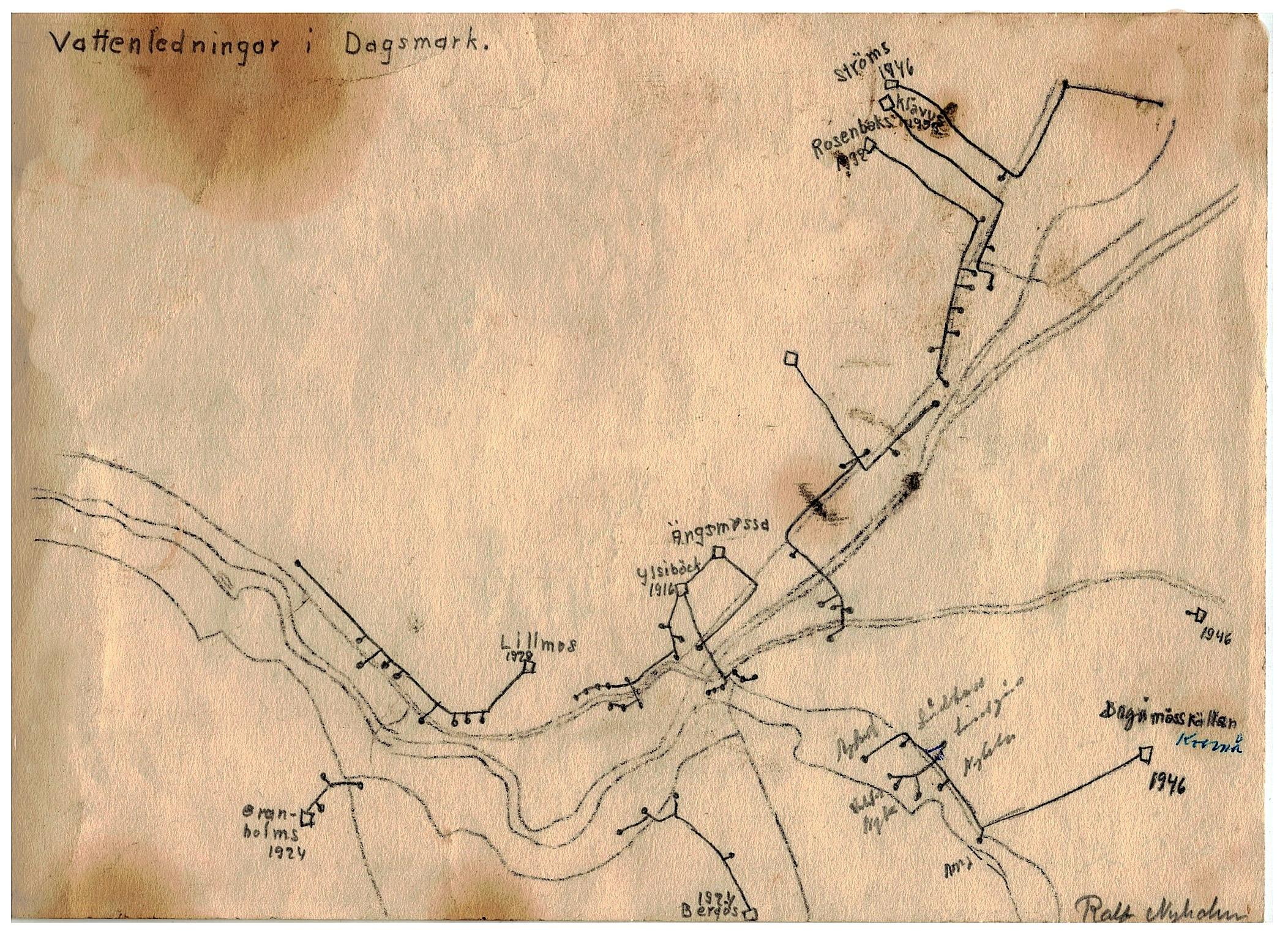 Eleverna i folkskolan gjorde på Einar Linds tid många viktiga dokumentationer. Ralf Nyholm från Kvarnå, ritade bland annat denna karta i början på 50-talet, som visar de 10 vattenledningarna som då fanns i Dagsmark. Den äldsta är från 1916, den som då kallades för Ylsöbäcks och i dag kallas för Storkull Anselmas. Erik Anders Broberg gjorde på sin tid många vattenledningar i byn.