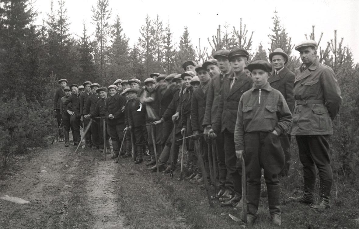 Skogsskötsel var ett vanligt tema i folkskolan på 30-talet. Här är pojkarna ute i Karl Knus´skog, själv står han som andra från höger.