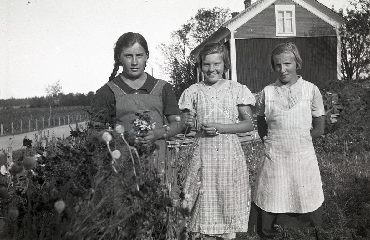 Härkmeriflickorna Svea Aspås, Gunvor Andtfolk och Astrid Aspås.