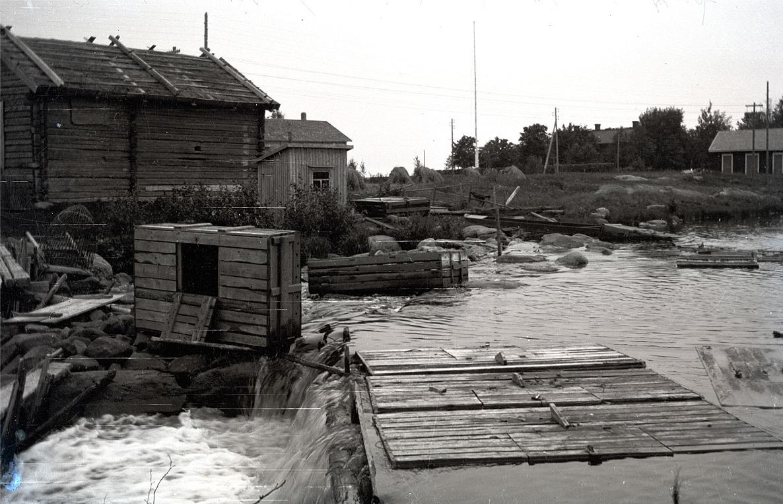 """På ristranden hos Emil Nygård, som kallades """"mjönas emel"""" köptes det upp kräftor. Den tiden fanns det mycket kräftor i ån och det var en viktig binäring. På bilden både fulla och tomma kräftsumpar."""