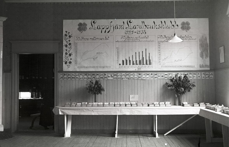 Lantbruksklubben hade en egen avdelning, med överskådlig statistik över utvecklingen sedan starten 1929. På borden prover på olika produkter.