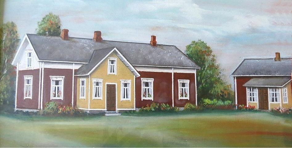 På Rosbloms målning ser vi hur Erland och Ida Norrgårds hus såg ut på gårdssidan. Lillstugan som syns till höger är troligtvis den torparstuga som tidigare stod på denna tomt och i denna lillstuga bodde Idas mor Anna Kajsa Långfors fram till sin död 1936. År 1939 byggdes lillstugan till då den flyttades till det ställe där den fortfarande står. Stora stugan revs i början på 1950-talet då en ny gård byggdes på samma ställe.