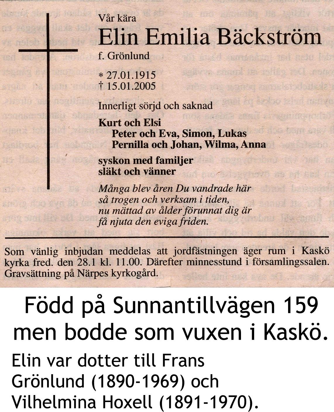 Bäckström Elin, f. Grönlund