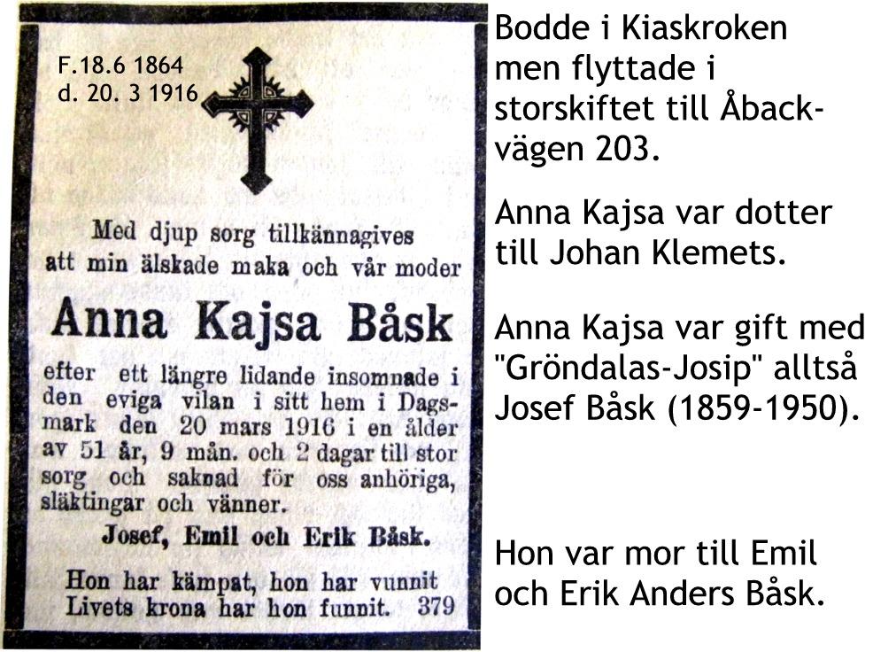Båsk Anna Kajsas annons