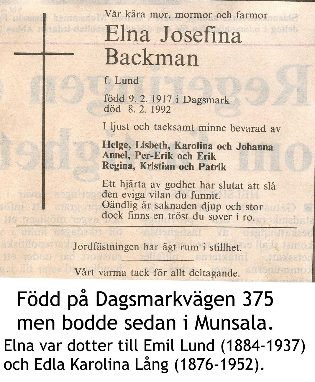 Backman ELNA Josefina, f. Lund
