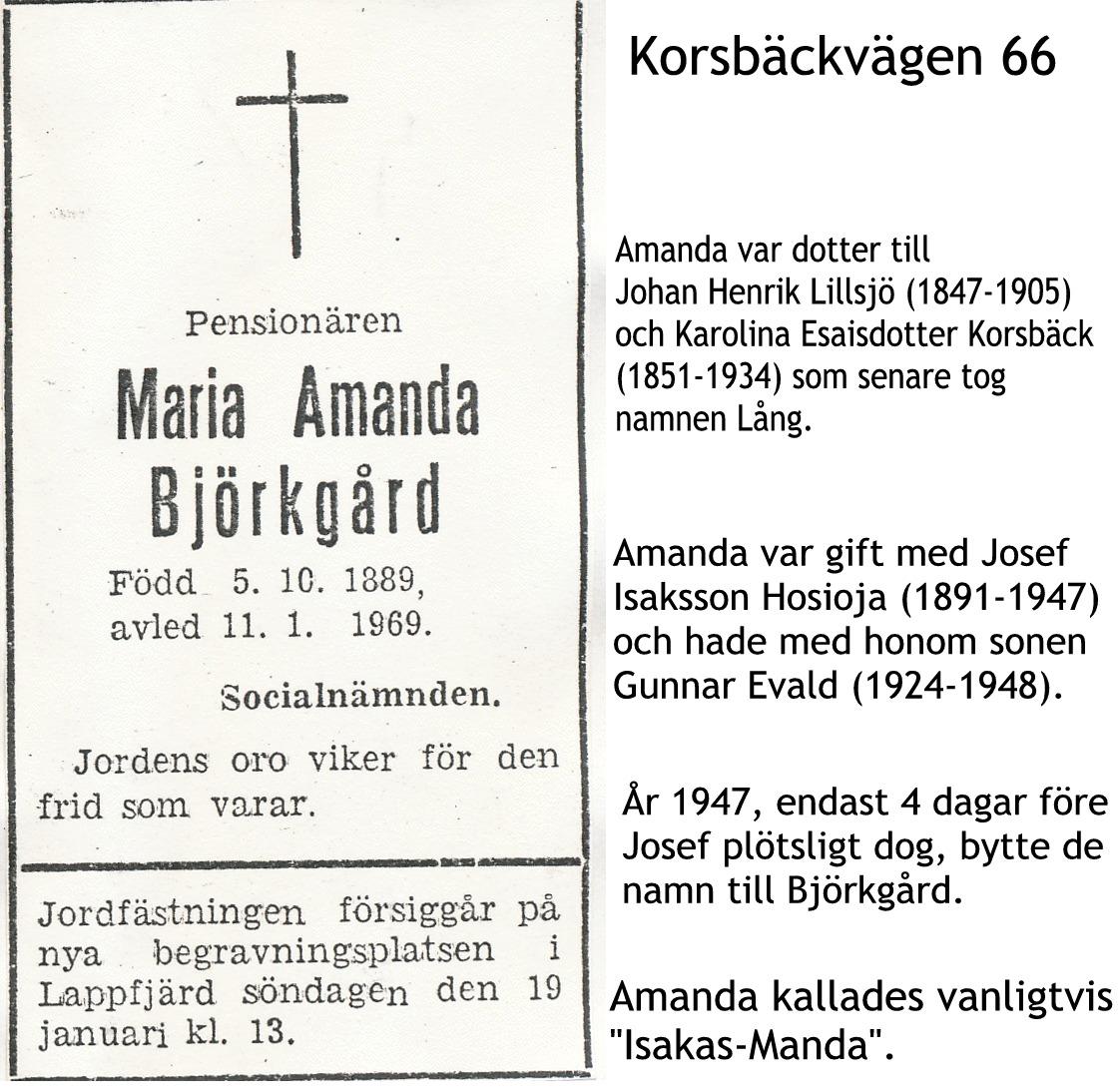Björkgård Amanda, Hosioja