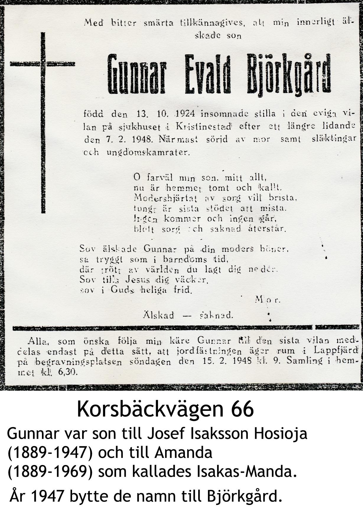 Björkgård Gunnar Evald