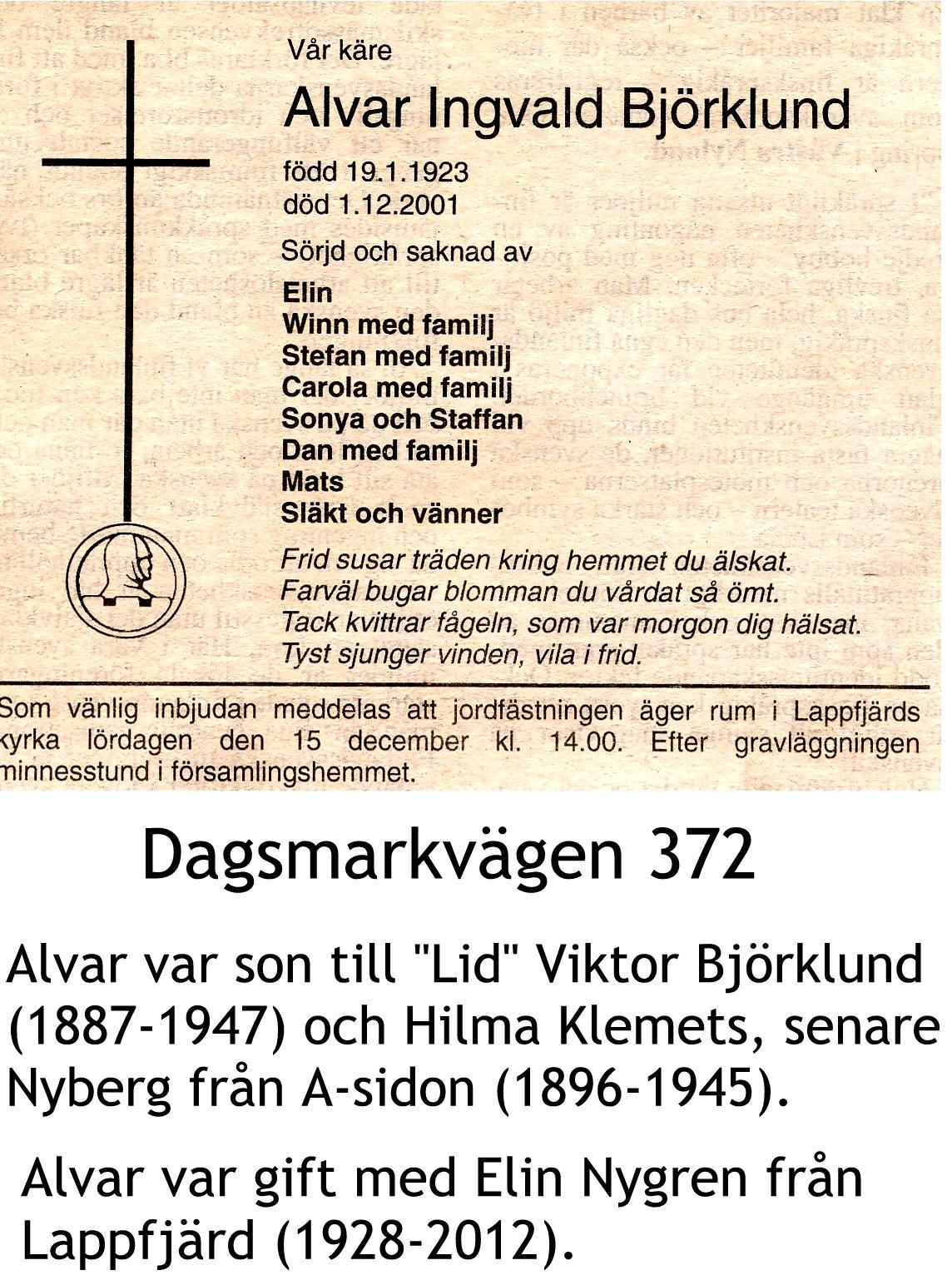 Björklund Alvar Ingvald