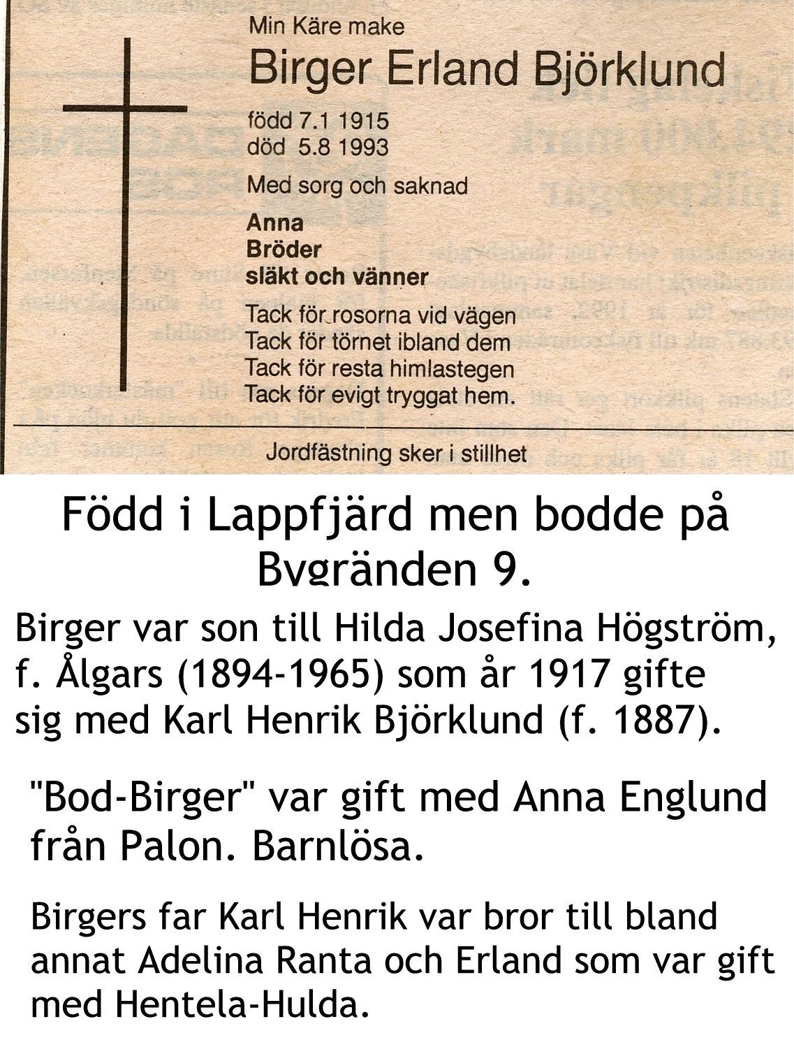 Björklund Birger Erland
