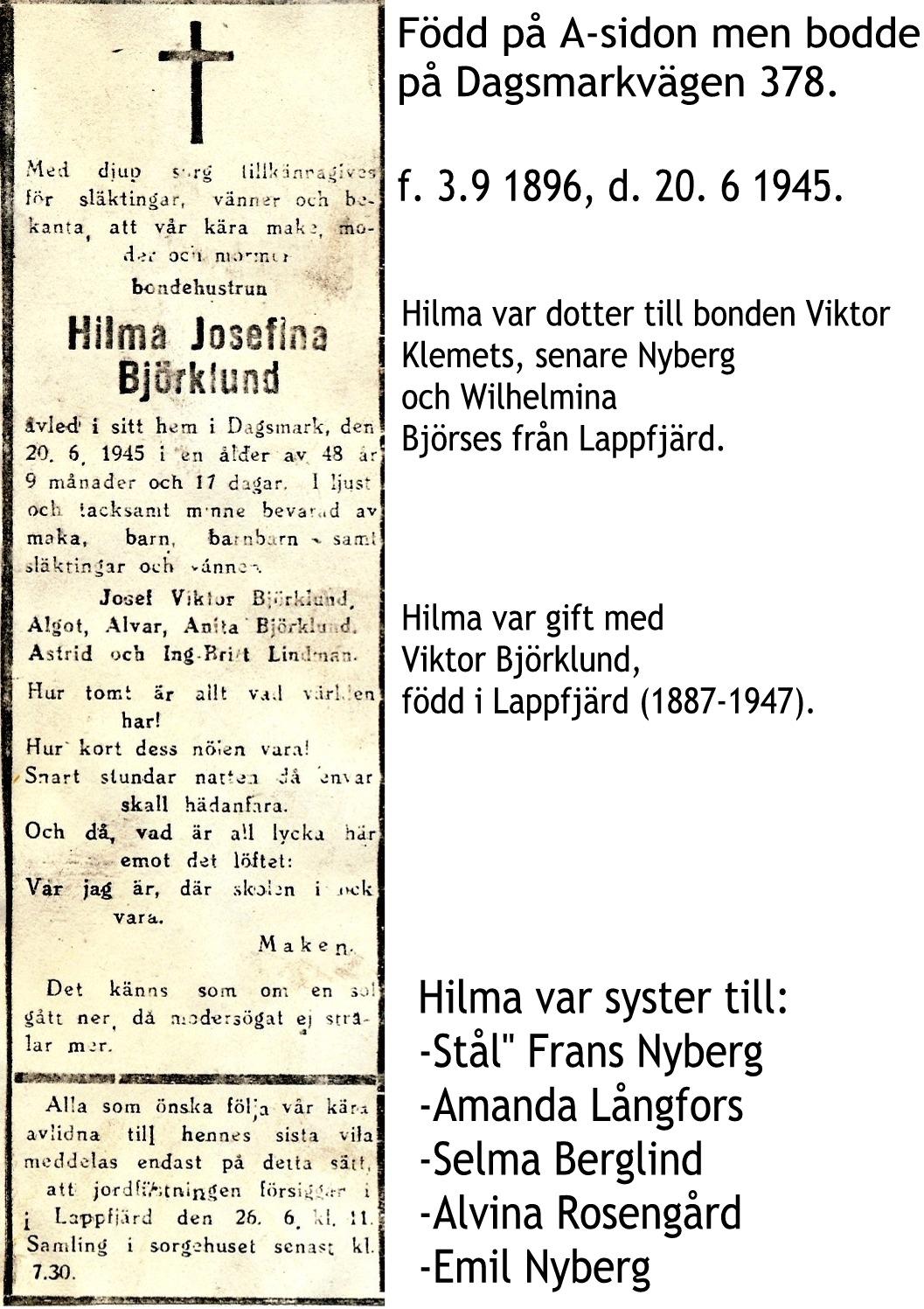 Björklund Hilma Josefina