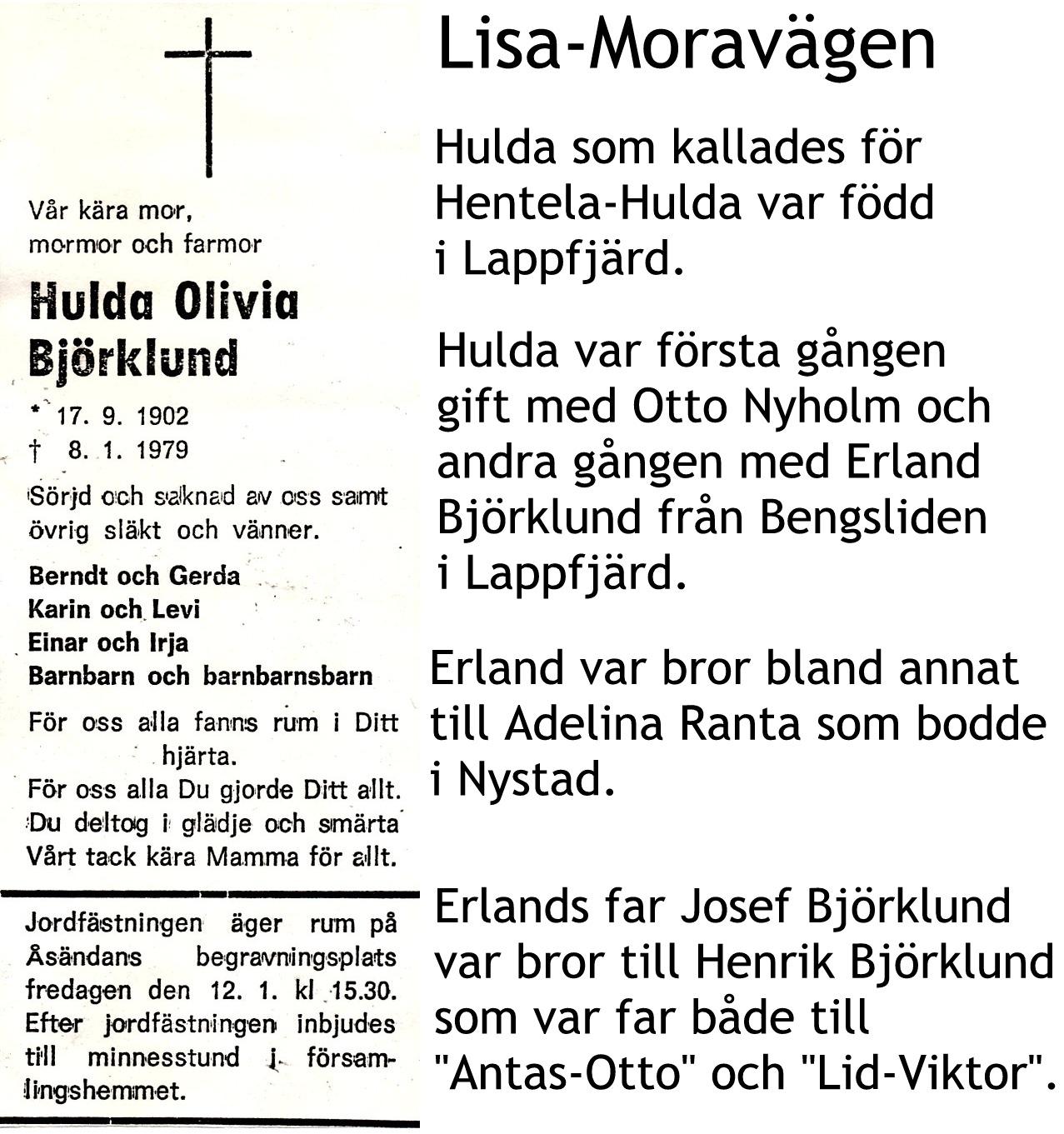 Björklund Hulda, Hentela