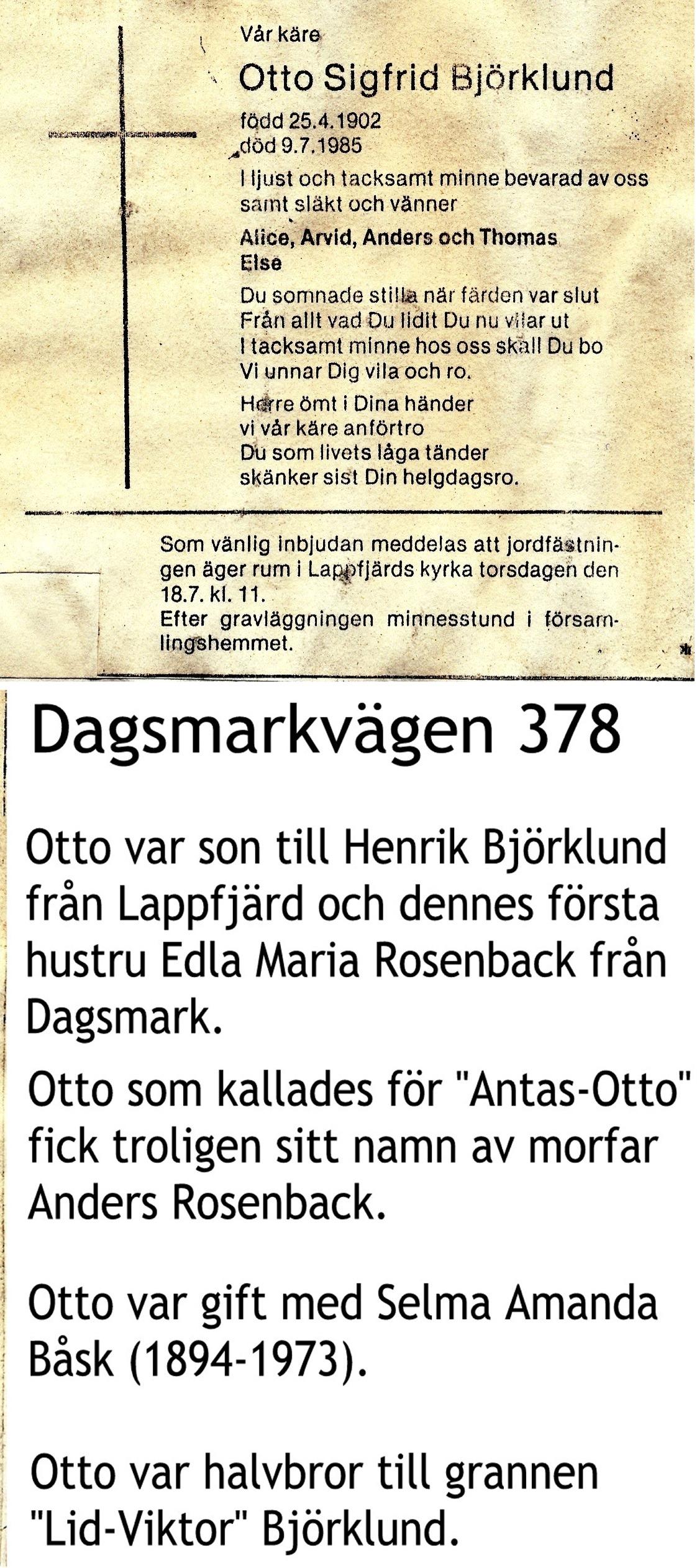 Björklund OTTO Sigfrid
