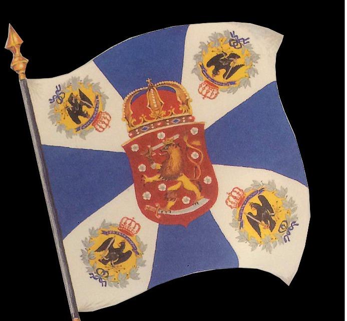 Den här Jägarfanan som jägarna hade med sig när de återvände till Finland var landets första truppförbandsfana.