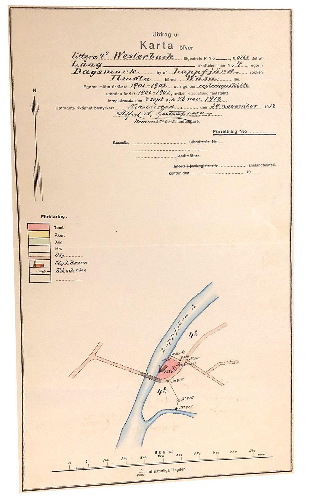 På denna detaljkarta från 1912, så ser vi att området tillhörde Ivar Westerback.