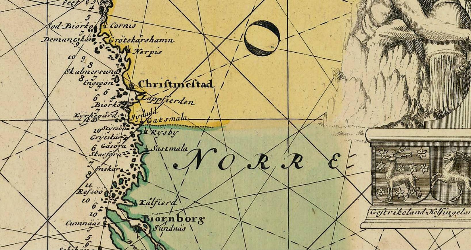 På denna karta från 1697 så ser vi att åmynningen kallas för Lappfierden, på grund av den rika förekomsten av lappgräs.