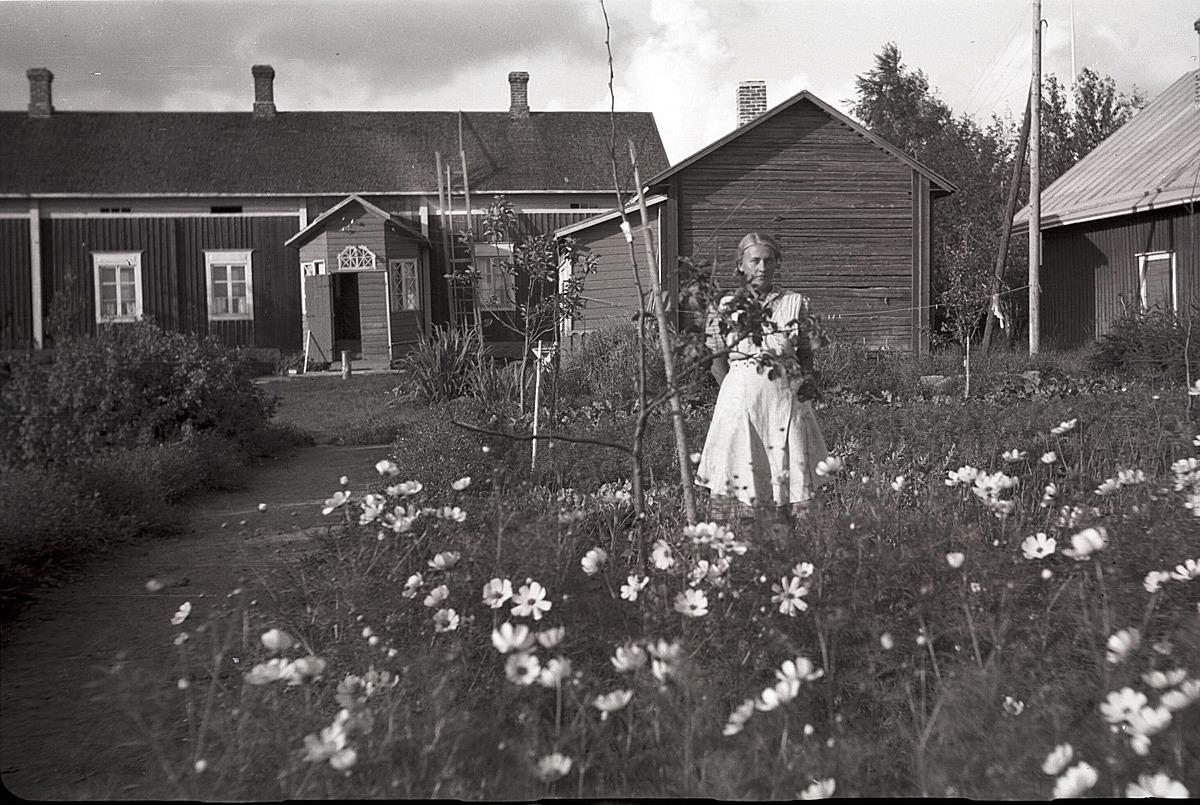 Ingeborg Ålgars visar upp sitt klubbland med föräldrahemmet i bakgrunden. År 1937 gifte hon sig med kantorn Eskil Ericsson och efter hans död gifte hon sig 1959 med Karl Ulfves.