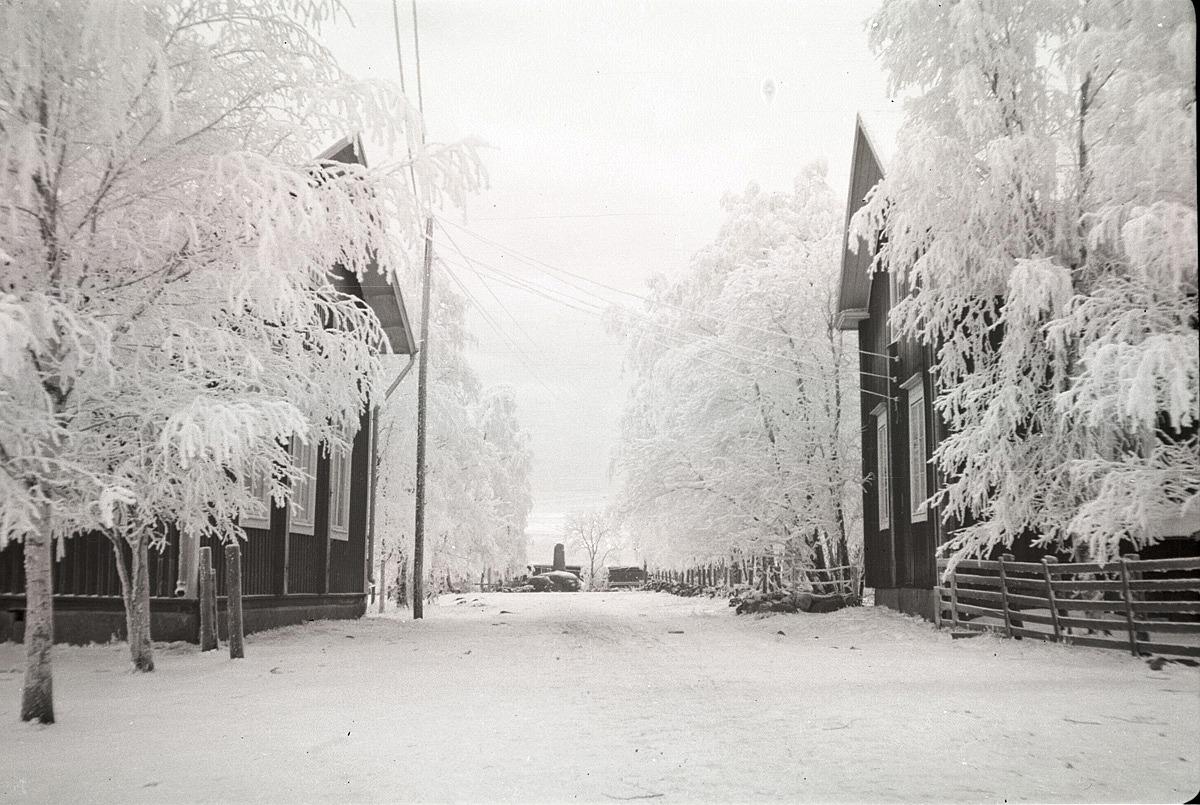 Vintrarna under så gott som hela 1930-talet hade varit milda men vintern 1939-40 var verkligen kall. Bakom rimfrosten i björkarna syns gavlarna av södra folkskolan och lärarbostaden. I bakgrunden syns minnesmärket från 1808-09 års krig.