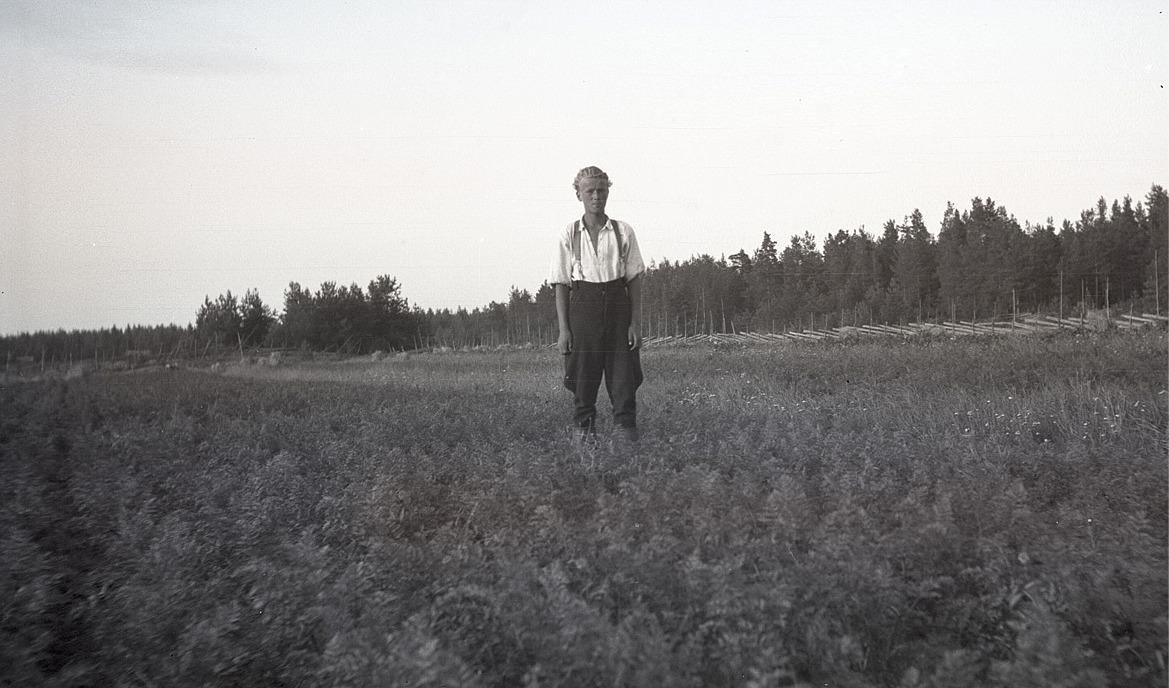 Med tidstypiska påsaböxor och stövlar står Bernt Kronman i sitt morotsland. Notera den fina gärdesgården i bakgrunden.