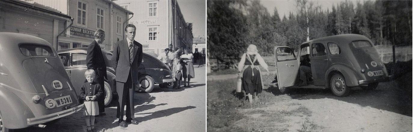 På bilden t.v. Boris och Rune Lindblad i Kristinestad tillsammans med Eila Eskola. På bilden till höger Hulda med mjölkkannan och Alvar Eskolas fina bil.