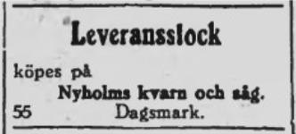 """År 1939 annonserade Emil då han behövde mera stockar och det var mer än en gång som annonsmottagaren på tidningen Syd-Österbotten missförstod firmanamnet. """"Nyholms Kvarnå Såg"""" skrev ofta """"Nyholms kvarn och såg""""."""