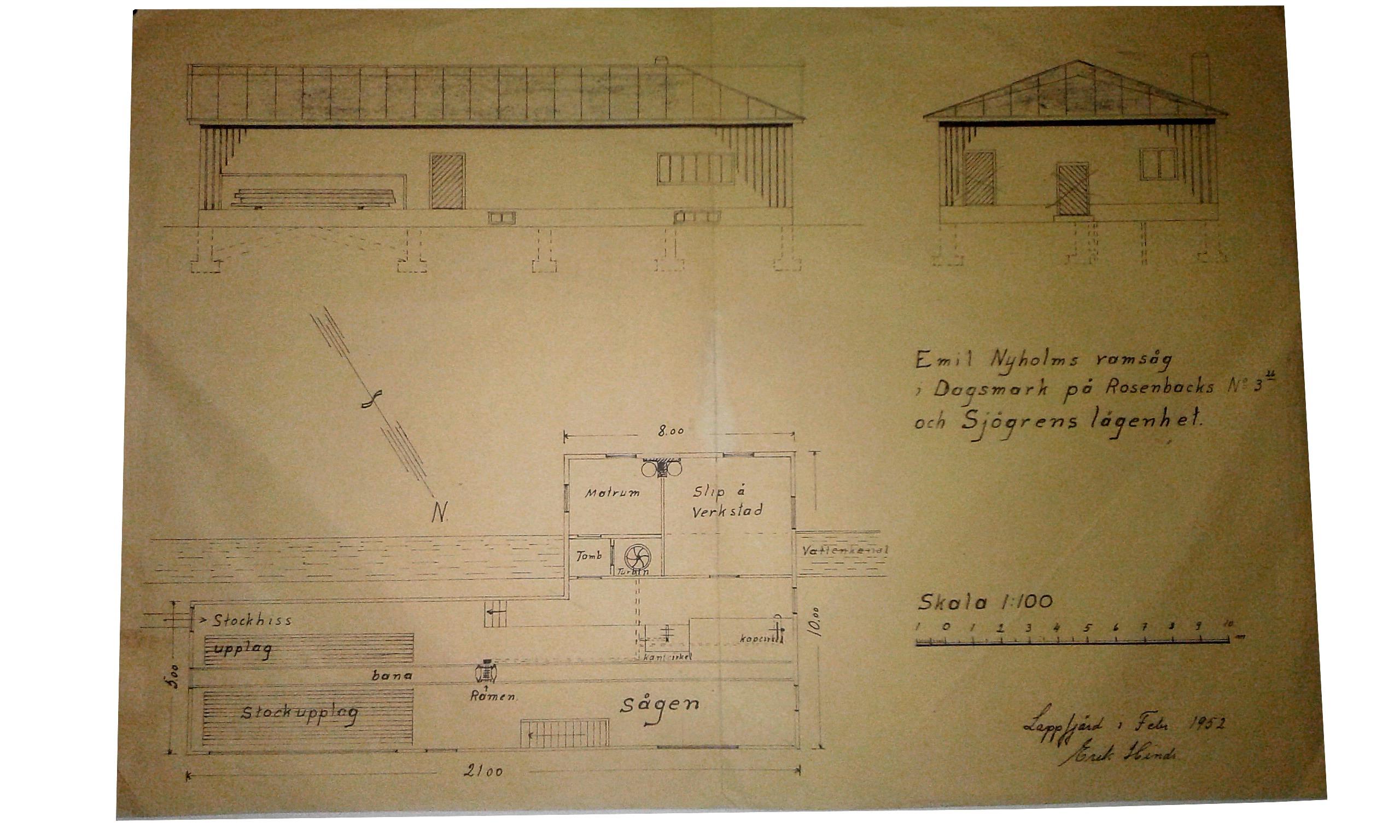 """I februari 1952 gjorde byggmästaren Erik Hinds denna ritning till Emil Nyholms nya sågbyggnad. Byggnadsnämnden i Lappfjärd godkände ritningarna och ordföranden Gunnar Gröndahl skrev kort och gott """"Godkänd"""" på baksidan av ritningen."""
