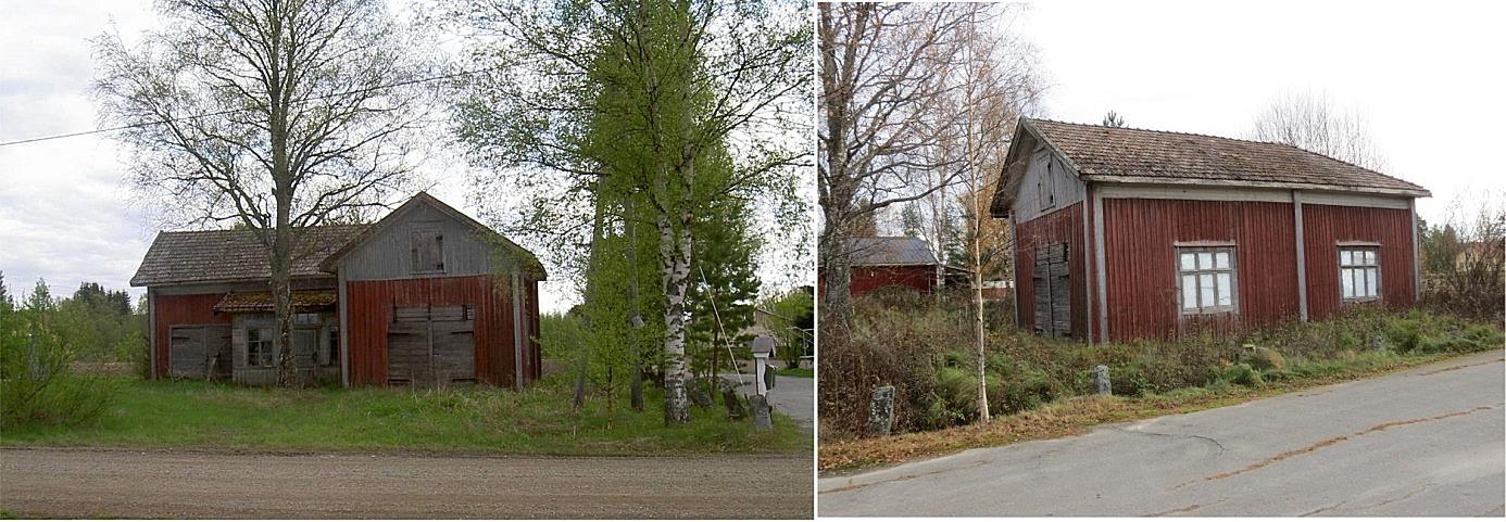 På bilden till vänster Lindblads gård år 2003 på Lillsjövägen 81, fotot från vägen. Den hade då byggts om till potatislager men inte varit i bruk på flera år. Bilden till höger är från 2013 och är tagen från nordväst.