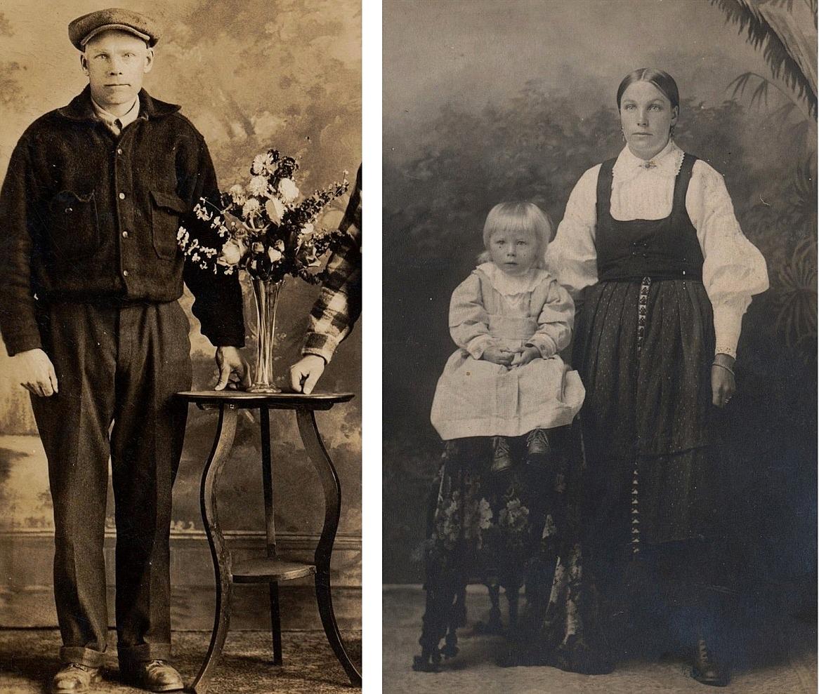 På bilden t.v. Johan Viktor Berglund i mitten på 20-talet någonstans i Amerika. Bilden t.h. är tagen nästan samtidigt här hemma i Kristinestad. Stående Hulda Berglund med dottern Gerda född 1922.