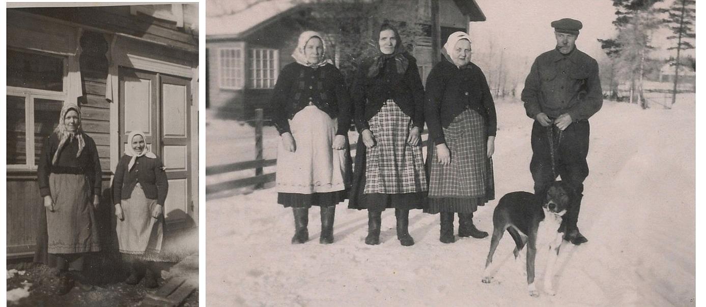 På det lilla fotot står Ida Rönnlund t.v. bredvid Hulda Lindblad. På det större fotot fr.v. Hulda Lindblad, Amanda Hällfors, Vilhelmina och Josef Berglund utanför Berglunds lillstuga i Lillsjö. Foto från början på 1950-talet.