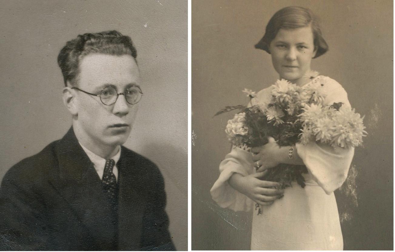 På bilden till vänster Arne Båsk som stupade i fortsättningskriget och till höger Gullborg som var den enda av Anders och Selmas barn som bildade familj och fick två egna barn.